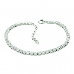 Tennis Inline Clear Rhinestones White Gold Plated Bracelet