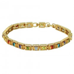 CRYSTAL CUBES - 18K Gold Finished AAA Quality Austrian Multi Coloured Square Cube Crystals Luxury Bracelet in Box