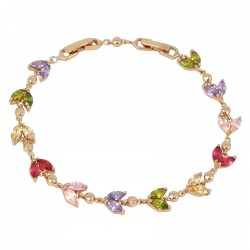 CRYSTAL LEAVES - Zanzara 18K Rose Gold Finished AAA Quality Austrian Pastel Multi Coloured Crystals Luxury Delicate Bracelet