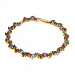 CRYSTAL LEAVES - Zanzara18cKGold Finished AAA Quality Austrian Multi Coloured Crystals Luxury Bracelet