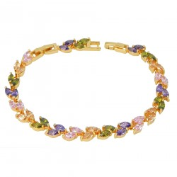 CRYSTAL LEAVES - Zanzara 18K Gold Finished AAA Quality Austrian Pastel Multi Coloured Crystals Luxury Bracelet