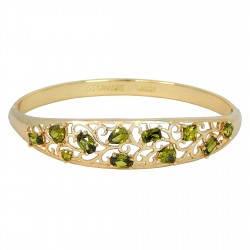 EDEN FLOWERS - Zanzara® Milano Genuine 18K Gold Finished AAA Quality Austrian Green Crystals Luxury Bangle Bracelet