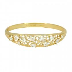 EDEN FLOWERS - Zanzara18K Gold Finished AAA Quality Austrian Clear Crystals Luxury Bangle Bracelet