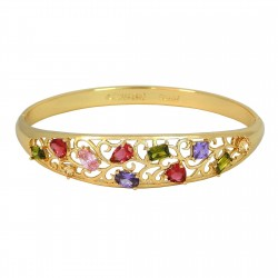 EDEN FLOWERS - Zanzara18K Gold Finished AAA Quality Austrian Multi Coloured Crystals Luxury Bangle Bracelet