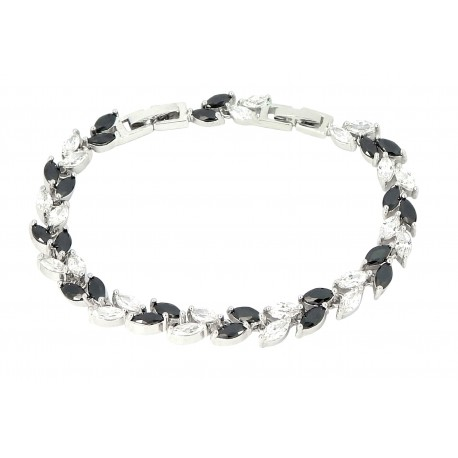 CRYSTAL LEAVES - Zanzara 18K White Gold Finished AAA Quality Austrian Clear and Black Crystals Luxury Bracelet