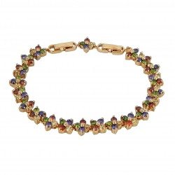 LUCKY FLOWER - Zanzara® Milano Genuine 18K Rose Gold Finished AAA Quality Austrian Multi Coloured Crystals Luxury Bracelet
