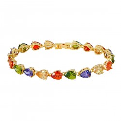 CRYSTAL TEARDROPS - Zanzara 18K Gold Finished AAA Quality Austrian Multi Coloured Crystals Luxury Bracelet in Box