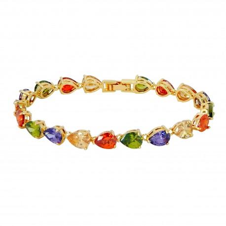CRYSTAL TEARDROPS - Zanzara 18K Gold Finished AAA Quality Austrian Multi Coloured Crystals Luxury Bracelet in Box
