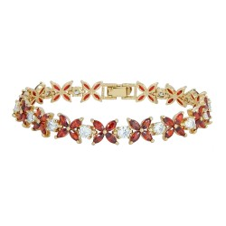 RED BUTTERFLY - Zanzara 18K Gold Finished AAA Quality Austrian Red and Clear Crystals Luxury Bracelet