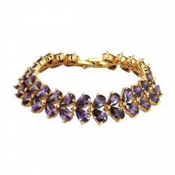 PURPLE DROPS - Luxury Zanzara 18K Gold Finished AAA Quality Austrian Purple Crystals Amethyst Color Imperiale Bracelet