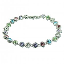 Multi-Coloured Round Rhinestones Tennis White Gold Plated Bracelet - High Quality