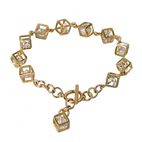 Openwork Cube Gold Plated Cubic Zirconia Chain Bracelet - Good Quality