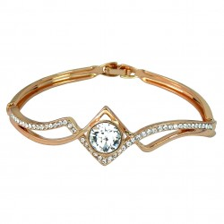 Cubic Zirconia 18K Rose Gold Plated High Quality Bangle Bracelet