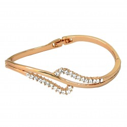 DOUBLE WAVES 18K Rose Gold Finished Crystal High Quality Bangle Bracelet