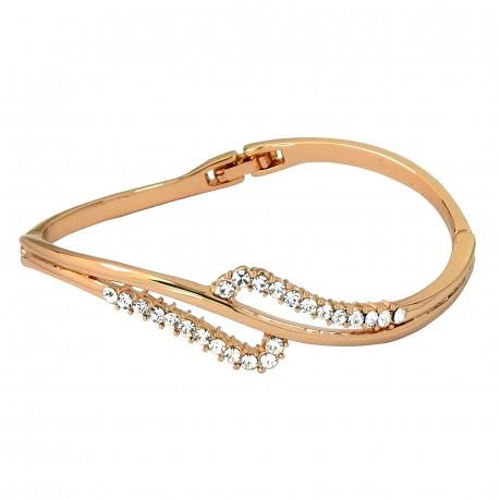 DOUBLE WAVES 18K Rose Gold Finished Crystal High Quality Bangle Bracelet