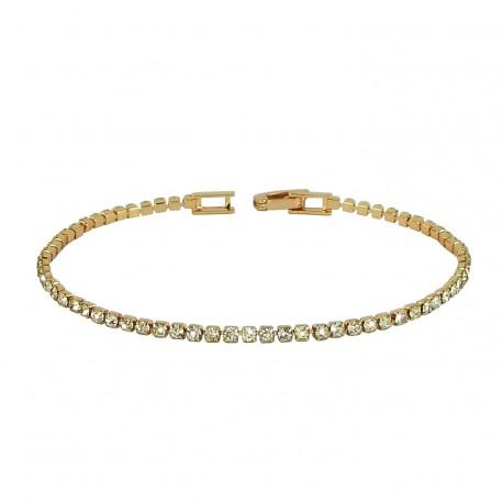 Tennis Inline Rose Gold Plated Rhinestones Bracelet
