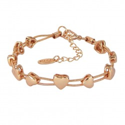 Hearts Rose Gold Plated Snake Chain Bracelet