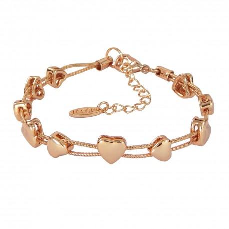 Hearts Rose Gold Plated Snake Chain Bracelet