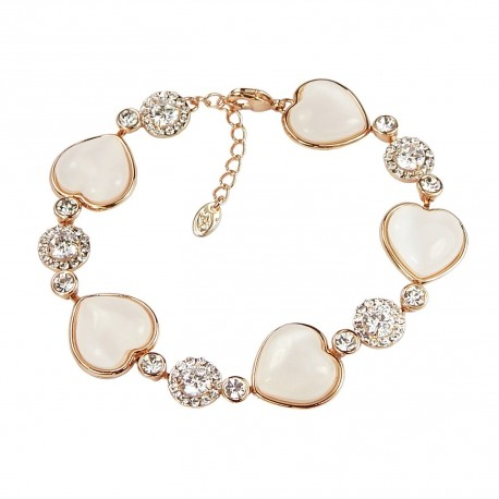 Opal Hearts Rhinestones Rose Gold Plated Bracelet