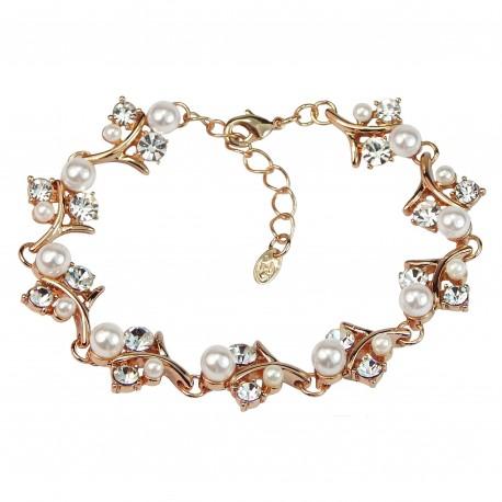 FROZEN TWIGS Artificial Pearls Rhinestones Rose Gold Plated Bracelet
