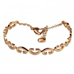 Luxury 18K Rose Gold Plated Stainless Steel Open Hearts Bangle Bracelet