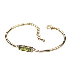 Green Bar Zirconia Gold Plated Bracelet Good Quality