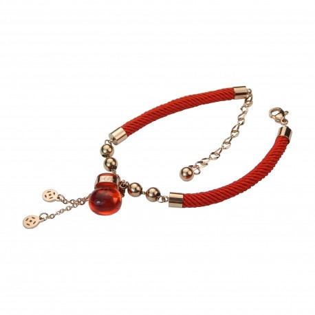 Unique Luxury Red Fortune Bag 18K Rose Gold Plated Stainless Steel Magic Wish Soft Round String Bracelet