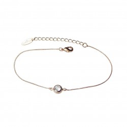 Delicate Cubic Zirconia Rose Gold Plated Chain Bracelet Good Quality
