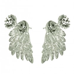 Angel Wings Novelty Style Silver Colour Cubic Zirconia Front Back Swinging Under Lobe Two Ways Stud Earrings