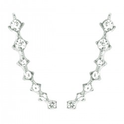 HOT TRENDY - Ear Cuff Climbers Crawlers Sweep Cuff Silver Colour Inline Clear Cubic Zirconia Earrings