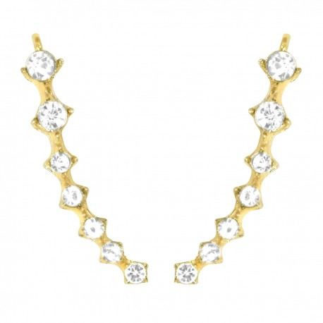 HOT TRENDY - Ear Cuff Climbers Crawlers Sweep Cuff Gold Colour Inline Clear Cubic Zirconia Earrings