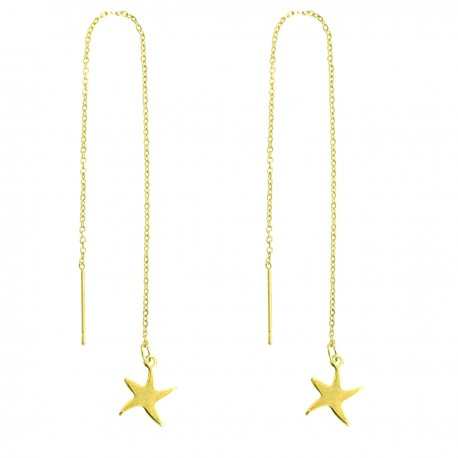 Starfish Star Gold Plated Stainless Steel Long Chain Pull Through Threader Delicate Dangle Earrings for Pierced Ears
