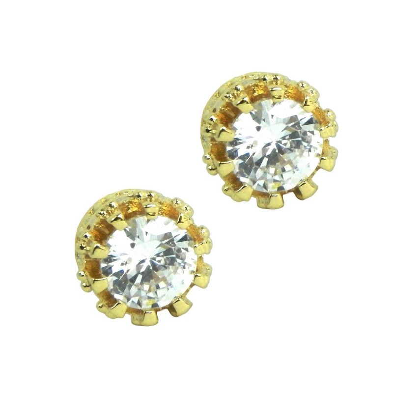 8d2c27ce3 ... Elegant 925 Sterling Silver Gold Plated Austrian Crystal Cubic Zirconia  Small Round Stud Earrings Good Quality ...