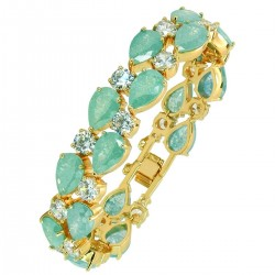 Touch of Luxury - Genuine 18K Gold Finished AAA Quality Austrian Crystals Light Turquoise IMPERIALE Bracelet in Box