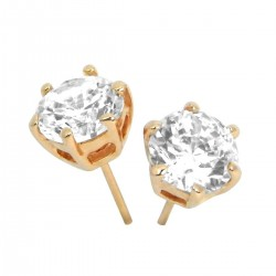 Rose Gold Plated Clear Austrian 9mm Crystal Round Stud Earrings Good Quality