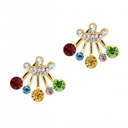 Novelty Style Crown Radiant Multi Coloured Rhinestones Gold Colour Front Back Radiate Swinging Under Lobe Two Ways Stud Earrings