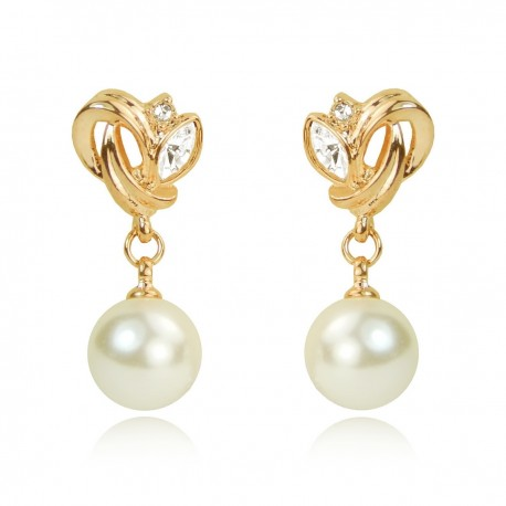 Loop Ornament 18K Gold with Light Rose Tone Plated Pearl and Crystal Rhinestones Drop Dangle Stud Earrings