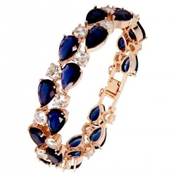 Touch of Luxury - Genuine 18K Rose Gold Finished AAA Quality Austrian Crystals Dark Blue Sapphire IMPERIALE Bracelet in Box