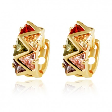 Multi Coloured Triangle Crystal HUGGIE HOOP - Gold Plated Earrings Good Quality