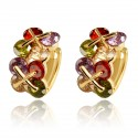 Multi Coloured Button Crystal HUGGIE HOOP - Gold Plated Earrings Good Quality