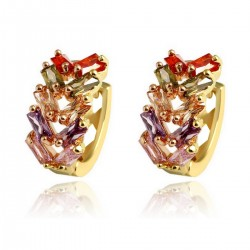 Multi Coloured Leaf Crystal HUGGIE HOOP - Gold Plated Earrings Good Quality