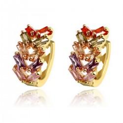 Multi Coloured Leaf Crystal HUGGIE HOOP - Gold Plated Earrings Good Quality