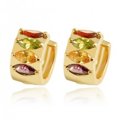 Multi Coloured Eliptic Crystal HUGGIE HOOP - Gold Plated Earrings Good Quality