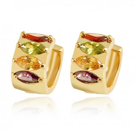 Multi Coloured Eliptic Crystal HUGGIE HOOP - Gold Plated Earrings Good Quality