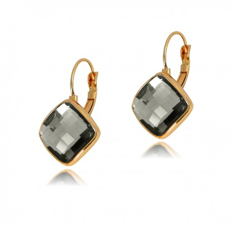 ELEGANT Black Diamond Colour Square Faceted Flat Crystal Rose Gold Plated Drop Hook Lever Back Earrings