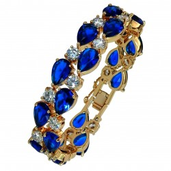 Touch of Luxury - Genuine 18K Gold Finished AAA Quality Austrian Crystals Dark Blue Sapphire IMPERIALE Bracelet in Box