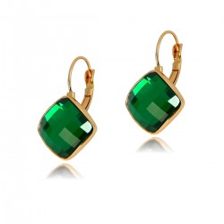 ELEGANT Green Emerald Colour Square Faceted Flat Crystal Rose Gold Plated Drop Hook Lever Back Earrings