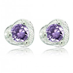 Purple Crystal 925 Sterling Silver Stud Earrings Small 8mm Good Quality for Women