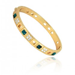 Zanzara Genuine 18K Rose Gold Finished AAA Quality Austrian Green Emerald Colour Crystals Luxury Bangle Bracelet in Box