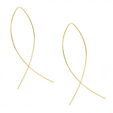 Novelty Trendy Fashion Simple Minimal Fish Gold Colour Thin Ear Line Bar Pull Through Curved Long Earrings